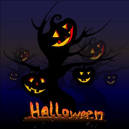 halloween trees creepy vector illustration