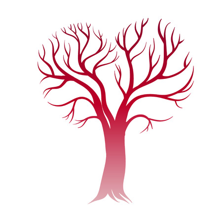 arbol geneal�gico: Feliz San Valent�n. Tarjeta con el �rbol del amor. Vectores