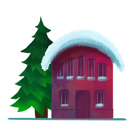 snowcovered: snow-covered brick house in the winter vector