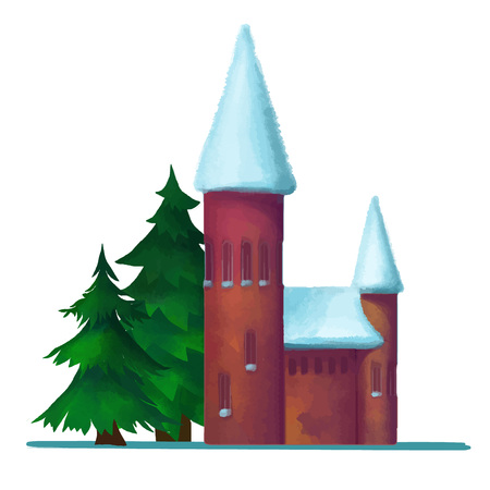 snow-covered brick house in the winter vector Vector