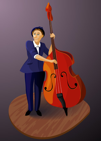 contra bass: contra bassist musical vector illustration