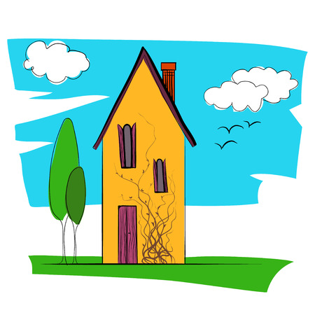 family in front of house: dream house nature vector illustration Illustration