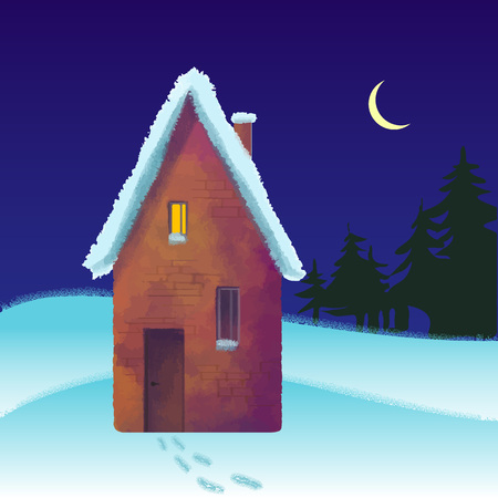 snowcovered: snow-covered brick house in the winter at night