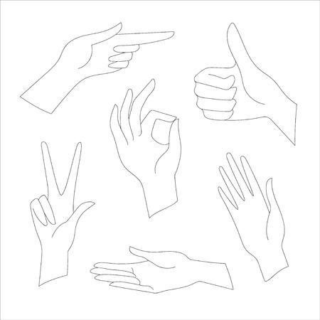 gestures: hand gestures real vector illustration