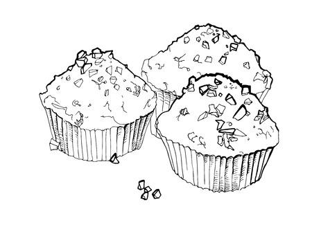 cupcake vector illustration cupcake sketch art Vector