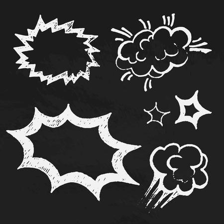 Comics balloons chalk text vector