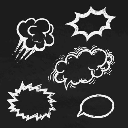 Comics balloons chalk text vector Vector
