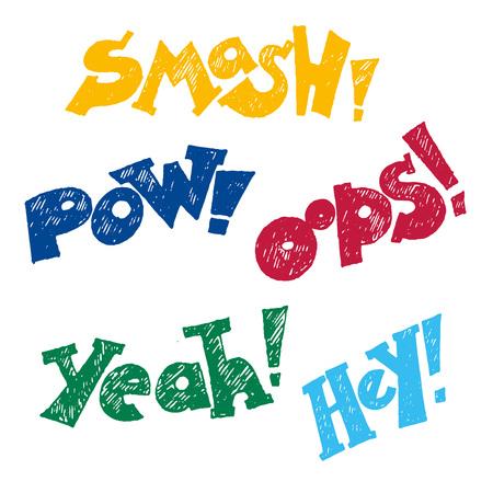 asterisks: Color comics text, balloons vector Illustration