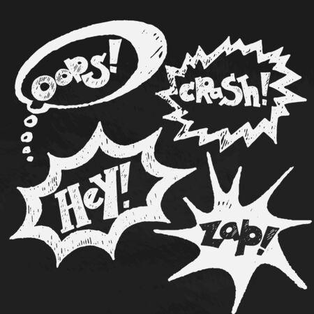 asterisks: Comics balloons chalk text vector