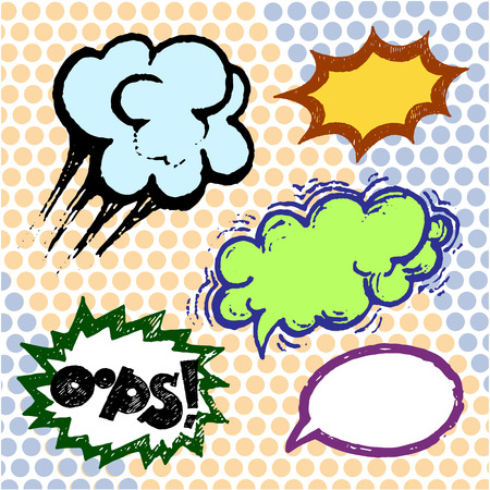 asterisks: Color comics balloons, text vector