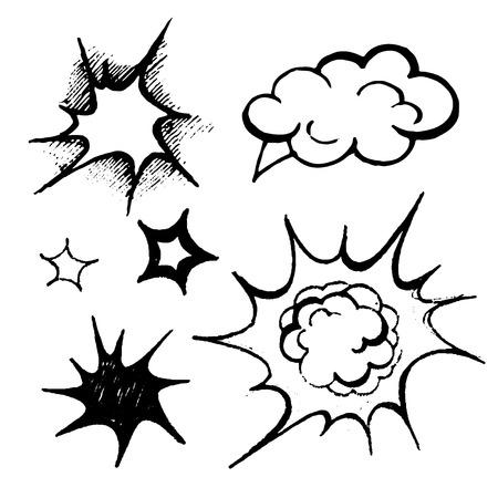asterisks: comics balloons illustration vector black