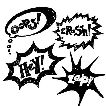 asterisks: Black comics text, balloons vector
