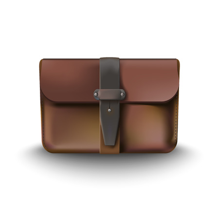 leather briefcase: leather briefcase and money vector