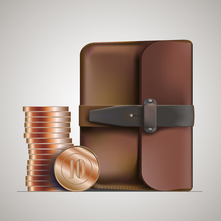 personable: leather briefcase and money vector