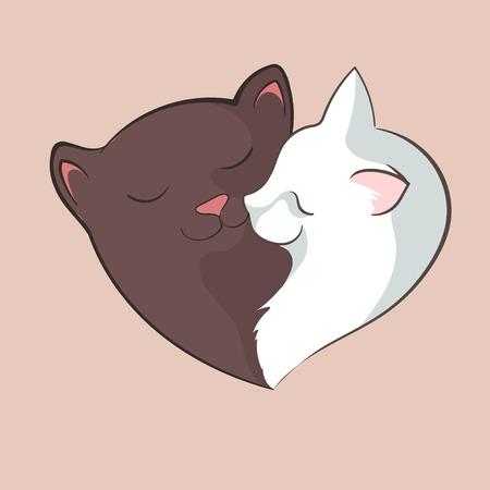 purring: Heart cats love vector illustration