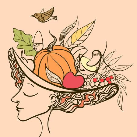 fertility goddess: girl fall pretty floral vector