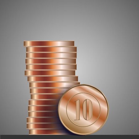 cooper: Coins cooper realistic vector illustration