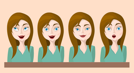 facial features: woman emotions real vector illustration