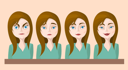 temperamento: Mujer Emociones ilustraci�n vectorial real