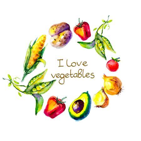 watercolor vegetables, circle frame, I love vegetables Vector