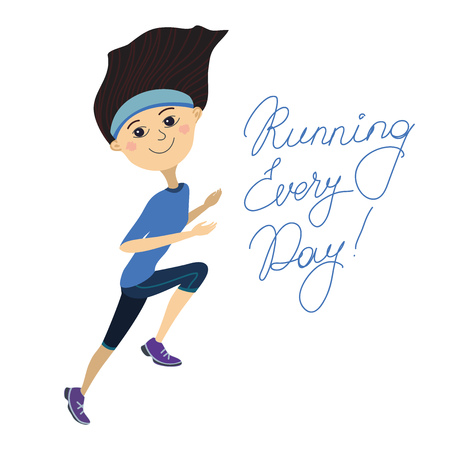 Running every day, girl on a white background Vector