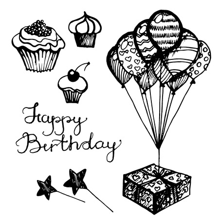 attributes: Vector birthday attributes, set of sketches