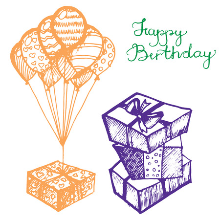 sweetness: Vector birthday attributes, set of sketches