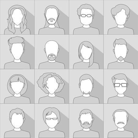 gray scale: Flat people icons. Set of stylish people icons in gray scale Illustration