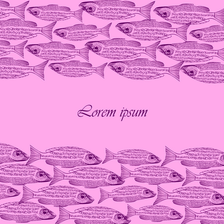 school of fish: Background with fishes in the pink palette. Seafood restaurant menu. School of fish. Fishing