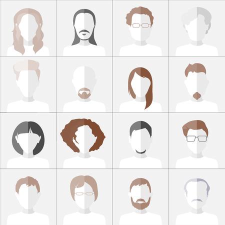 Flat people icons. Set of stylish monochrome people icons on gray background.