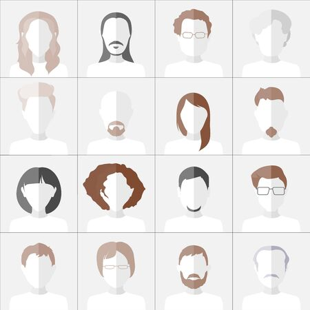 chat room: Flat people icons. Set of stylish monochrome people icons on gray background.