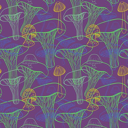 food poison: Seamless pattern with different hand drawn mushrooms on purple background.