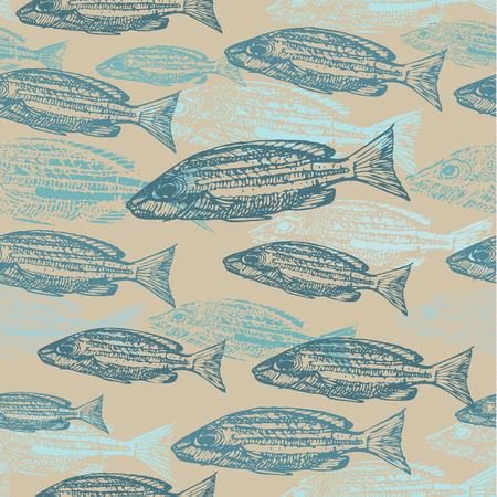 kraft paper: Vector seamless pattern with sketches of fish on kraft paper background.