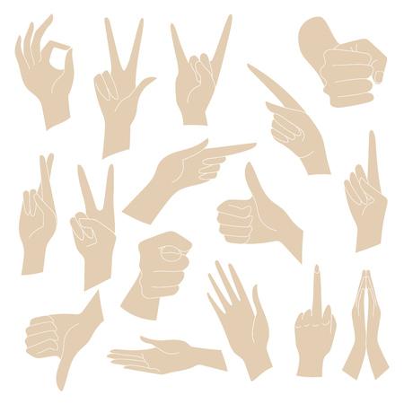interpretations: Vector Illustrations Set of universal gestures of hands. Hands in different interpretations Illustration