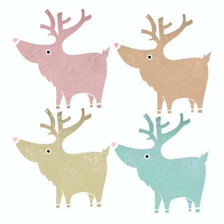 tarjetas a�o nuevo: Set of four cute reindeers in gentle vintage style.  Design element for Christmas and New Year Cards and Banners.