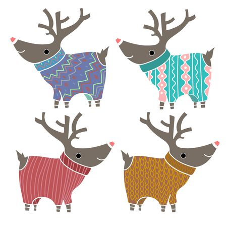 tarjetas a�o nuevo: Set of four cute reindeers in amusing knitted sweaters. Design element for Christmas and New Year Cards and Banners. Vectores