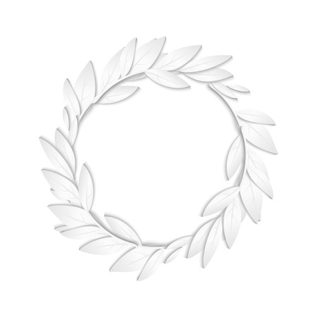 tarjetas a�o nuevo: Circular frame of white paper branches and leaves on white background. New Year cards background.