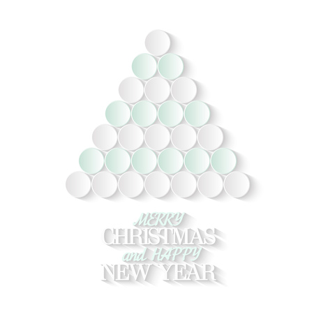 isolated tree: Creative Christmas tree consists from 3d paper circles. Merry Christmas and Happy New Year. New Year, Christmas Holiday greeting Card, banner design template