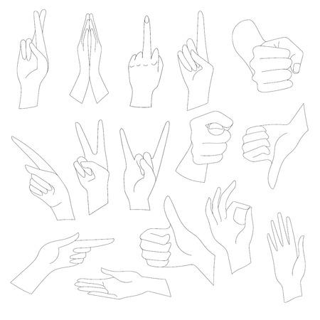 interpretations: Linear Illustrations Set of universal gestures of hands. Hands in different interpretations