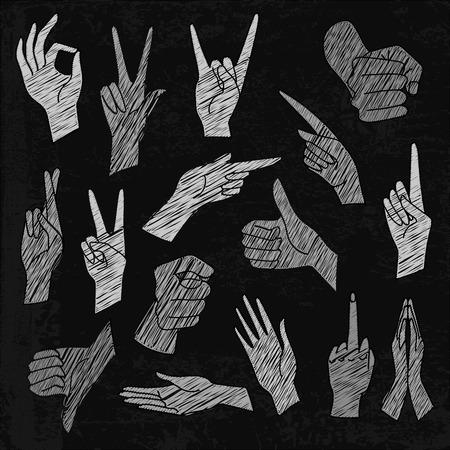 interpretations: Vector  chalkboard illustrations set of universal gestures of hands. Hands in different interpretations. White chalk hatching on a black chalkboard Illustration