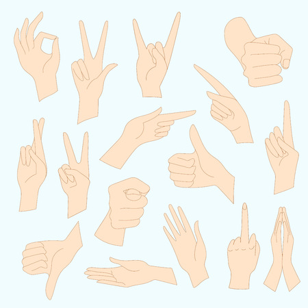 interpretations: Vector illustrations set of universal gestures of hands. Hands in different interpretations