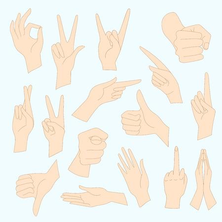 interpretations: Vector illustrations set of universal gestures of hands. Hands in different interpretations