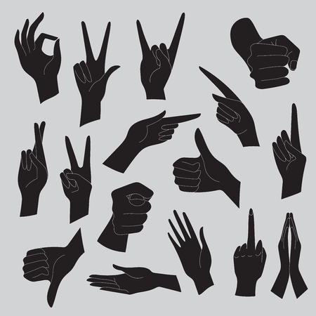 hand sign: Vector illustrations set of universal gestures of hands. Hands in different interpretations. Black silhouettes on a gray background