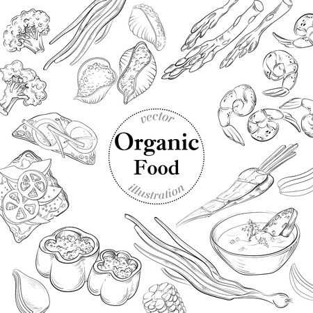 hearty: Healthy and Hearty Food. Organic restaurant background template Illustration