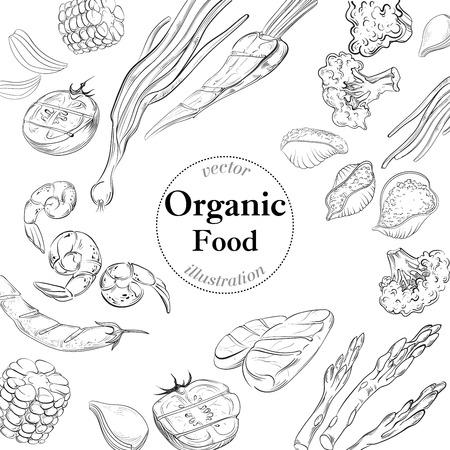 Organic fresh food banner. Linear vector illustration.