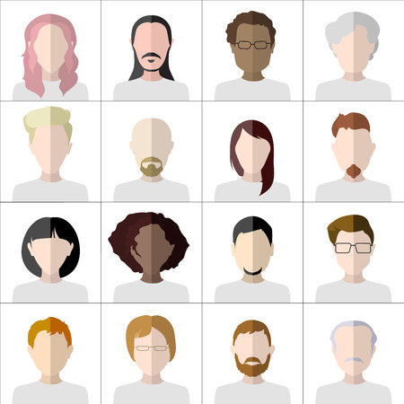 chat room: Flat people icons. Set of stylish people icons