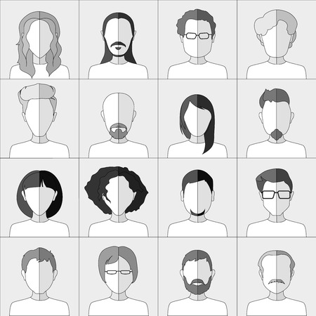 chat room: People icons. Set of flat stylish people icons in gray scale.