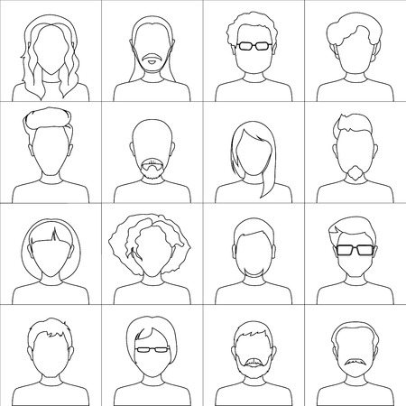 chat room: Linear people icons. Set of stylish people icons on white background