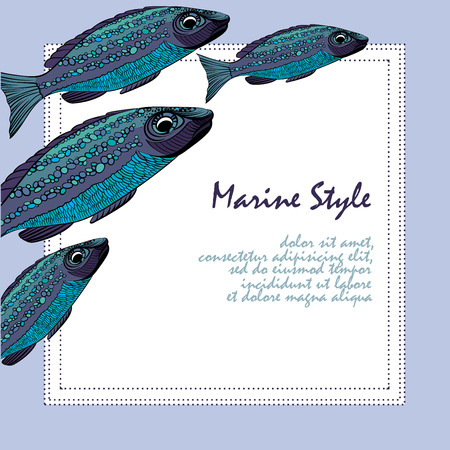 school of fish: Background with fishes. School of fish. Template for print design