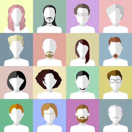chat room: Flat people icons. Set of stylish people icons on multicolored background Illustration